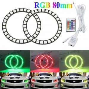 2x80mm RGB LED Halo Ring Angel Eyes Headlight Multi-color Change with Remote Kit