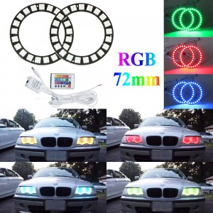 Excellent RGB 2x 72mm LED Halo Rings kit Car Styling for Angel Eyes IR Control