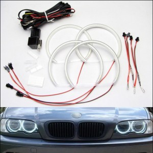 Led Angel Eyes Halo Rings for BMW E46 Car Headlight White 7000K Non-Projector
