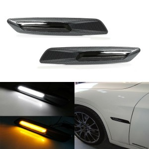 Carbon F10 Style Switchback White/Amber LED Side Marker Lights For BMW 1 3 5 X1