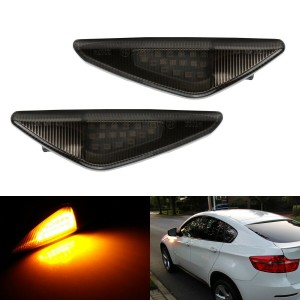 Smoked Lens Amber LED Front Fender Side Marker Light Assembly For BMW X3 X5 X6