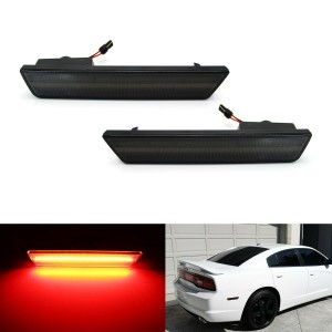Rear Side Marker Lamps w Red LED Lights For 08-14 Dodge Challenger,11-14 Charger