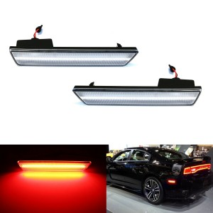 Red LED Light Rear Side Marker Lamps For 2008-14 Dodge Challenger, 11-14 Charger