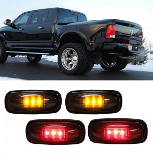 4pc Smoked Lens LED Fender Bed Side Marker Lights (Amber + Red) For Dodge RAM HD