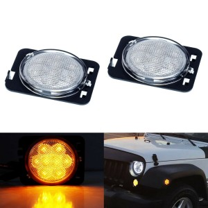 Clear Lens Amber LED Side Marker Lights/Fender Flare Lamps For Jeep Wrangler JK