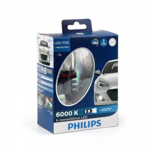 Genuine Philips X-treme Ultinon H8, H11, H16 Pair Turbo LED Headlight OEM 6000K