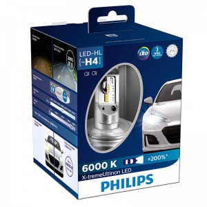 Philips H4 12953 BW X2 X-treme Ultinon LED Car Headlight 6000K Cool White Light