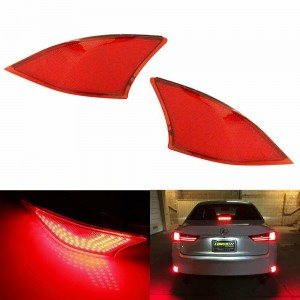 Red Lens 69-SMD LED Rear Bumper Reflectors Lights For 2014-up Lexus IS250 IS350