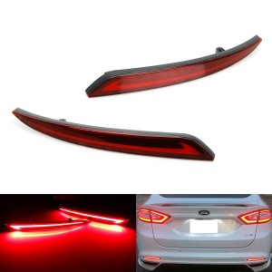 Red Lens Fluid Style LED Bumper Reflector Tail Lights For 2013-up Ford Fusion