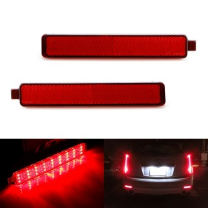 Red Lens 54-SMD LED Bumper Reflector Marker Lights For Cadillac CTS GMC Acadia