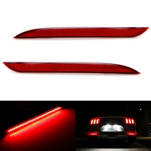 Red Lens 36-SMD Red LED Bumper Reflector Lights For 2015-up Ford Mustang