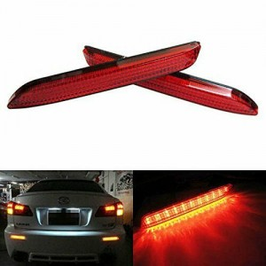Red Lens LED Bumper Reflectors as LED taillight brake lights For Lexus IS-F Toyota Venza