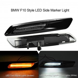 F10 Style White/Amber LED Side Light Turn Indicator Lamp Signal For 1 3 5 Series